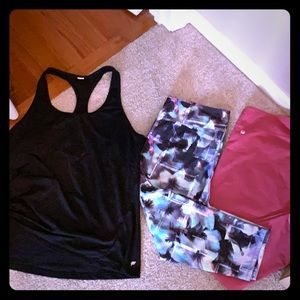 Fabletics top and 2 pair of capris XXL